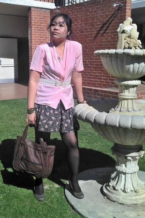 pink chiffon thrifted vintage blouse - floral cotton on skirt - charcoal gray Ur