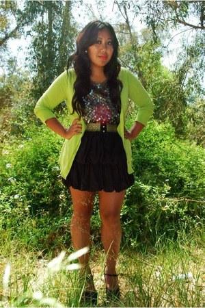 Express cardigan - Forever 21 blouse - Forever 21 skirt - Forever 21 heels