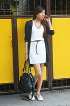 dress - cardigan - bag - shoes - belt - necklace