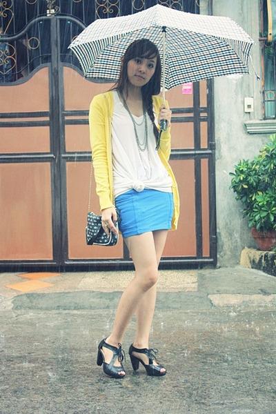 yellow sm dept cardigan - blue sm dept skirt - black Parisian Jr shoes - black L
