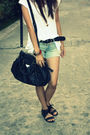 White-my-stepdads-shirt-blue-shorts-black-prada-bag-black-natasha-shoes-