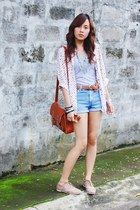 light pink dotted blouse - light pink brogues shoes - sky blue shorts