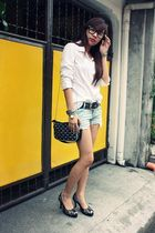 white random blouse - black Freeway belt - black lace shoes - black Lacoste purs