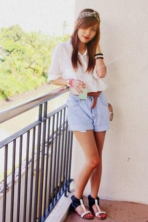 light blue shorts - white silk Simones Closet blouse
