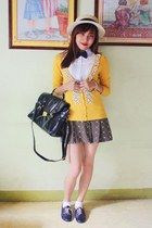 shoes - purse - skirt - cardigan