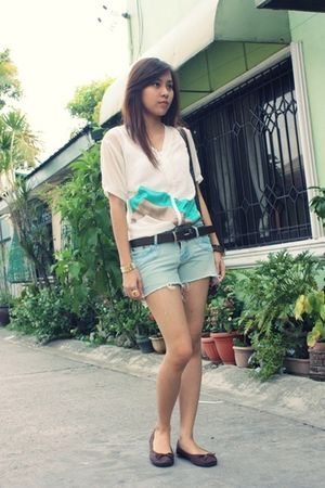 white gift from friend blouse - blue DIY pants shorts - brown SO FAB shoes