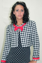Vintage 80's Houndstooth Tweed Jacket Bolero Blazer Cropped Black White Small S