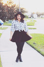 H-m-boots-asos-hat-forever-21-shirt-tj-maxx-skirt
