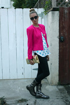 hot pink vintage blazer - charcoal gray Doc Martins boots - black R&R jeans