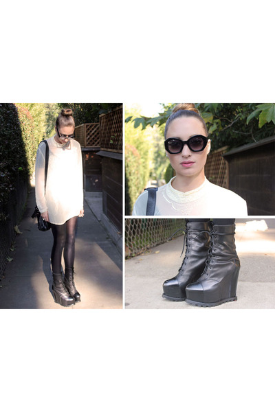 black Karen Walker glasses - black acne wedges - eggshell vintage blouse