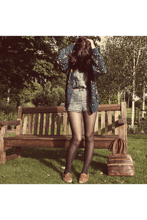 brogues Topshop shoes - thrifted bag - Topshop bodysuit - thrifted vintage cardi