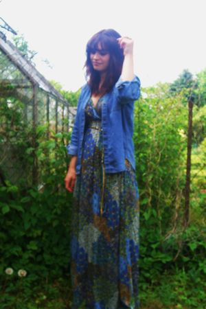 blue traffic people dress - Urban Outfitters shoes - vintage shirt - Topshop acc