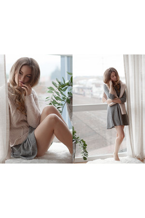 peach Zara sweater - charcoal gray c&a skirt