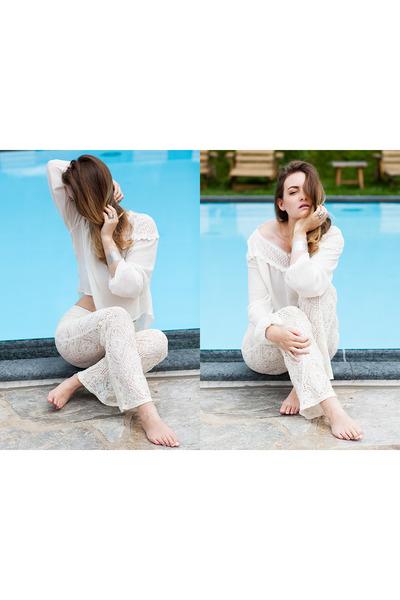 white H&M panties - white Rhomberg ring - white H&M top
