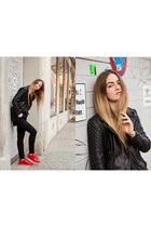 black Muubaa jacket - black Tigha shirt - red Adidas Originals sneakers