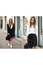 black Nicopanda bag - black Zara coat - white BIG shirt