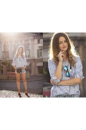 blue Xray sunglasses - light blue Edelweisshemd shirt - black calvin klein bag