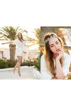 aquamarine Bova necklace - white H&M shorts - gold Bova accessories
