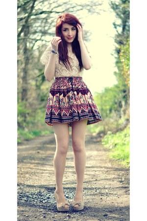ivory crochet Quiz top - River Island skirt - beige peep-toe heels