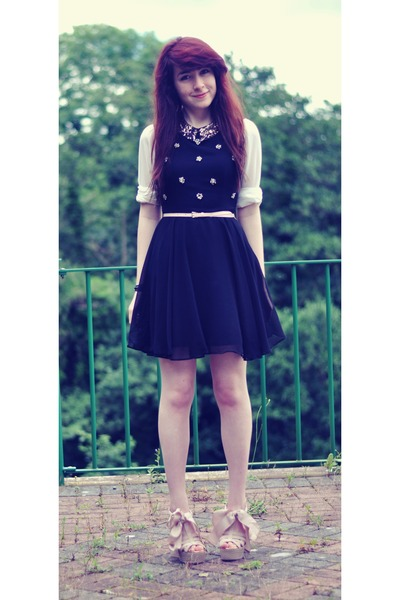 black chiffon Local Boutique dress - white sequin collar OASAP shirt