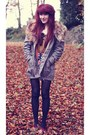 Dark-khaki-parka-henry-holland-coat-ivory-collar-dorothy-perkins-necklace