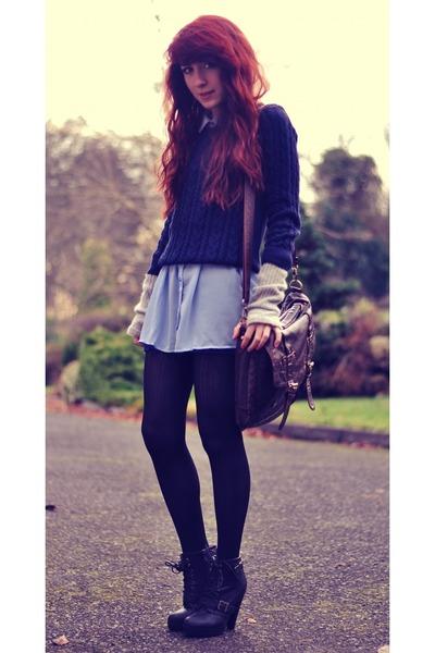 sky blue Forever 21 shirt - black Forever 21 boots