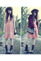 light pink Mum dress - gray River Island boots - eggshell boater Primark hat