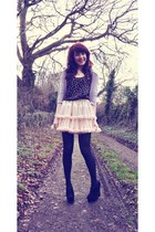 light pink petticoat American Apparel skirt - silver Topshop cardigan
