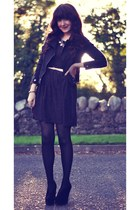 black biker Bershka jacket - deep purple skater Primark dress