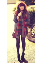 oversized new look coat - heart print Primark shirt - tartan Scotland scarf