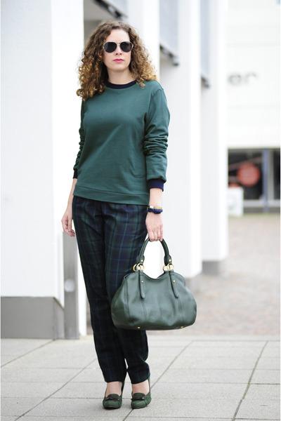 forest green leather Miu Miu bag - forest green tartan DIY pants