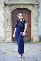 navy jersey gown DIY dress - dark brown DIY bag - dark brown faux fur Mango vest