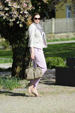 beige ChiChiFan bag - eggshell short H&M blazer