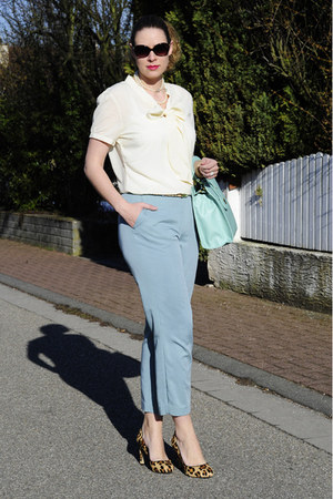 aquamarine asos bag - off white bow asos blouse - aquamarine DIY pants