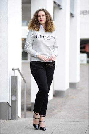 black DIY pants - black straps Zara pumps - heather gray Mango jumper