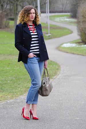 red bubble Ebay necklace - light blue boyfriend H&M jeans - navy Mango jacket