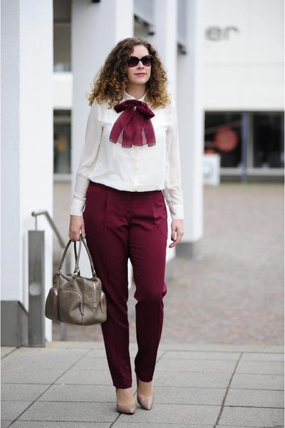 tan leather ChiChiFan bag - cream chiffon H&M blouse