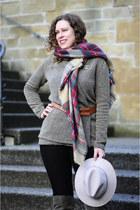 crimson tartan Zara scarf - army green overknee 3Suisses boots - black H&M jeans