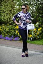 purple asos pumps - navy skinny Esprit jeans - deep purple DIY jacket
