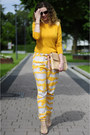 Mustard-longsleeve-diy-shirt-tan-zara-bag-tan-ornament-print-ichi-pants