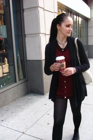 black calvin klein cardigan - red twelve by twelve dress - black stockings - bla