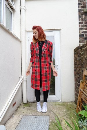 red st michael coat - black American Apparel leggings