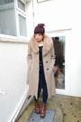 Brick-red-steve-madden-boots-camel-vintage-c-a-coat-navy-topshop-jeans