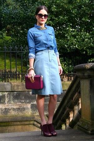 blue denim blouse - blue denim Topshop skirt