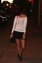black lace Topshop shorts