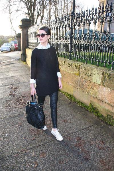 black leather H&M leggings