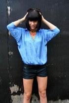 sky blue silk batwing Zara blouse