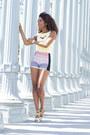Bebe-shorts-bebe-top-aldo-heels