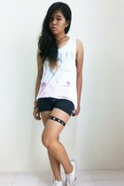 cotton on shirt - Nichii shorts - Converse sneakers - diy Leg Garter accessories