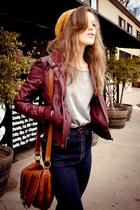 brick red Pac Sun jacket - navy BDG jeans